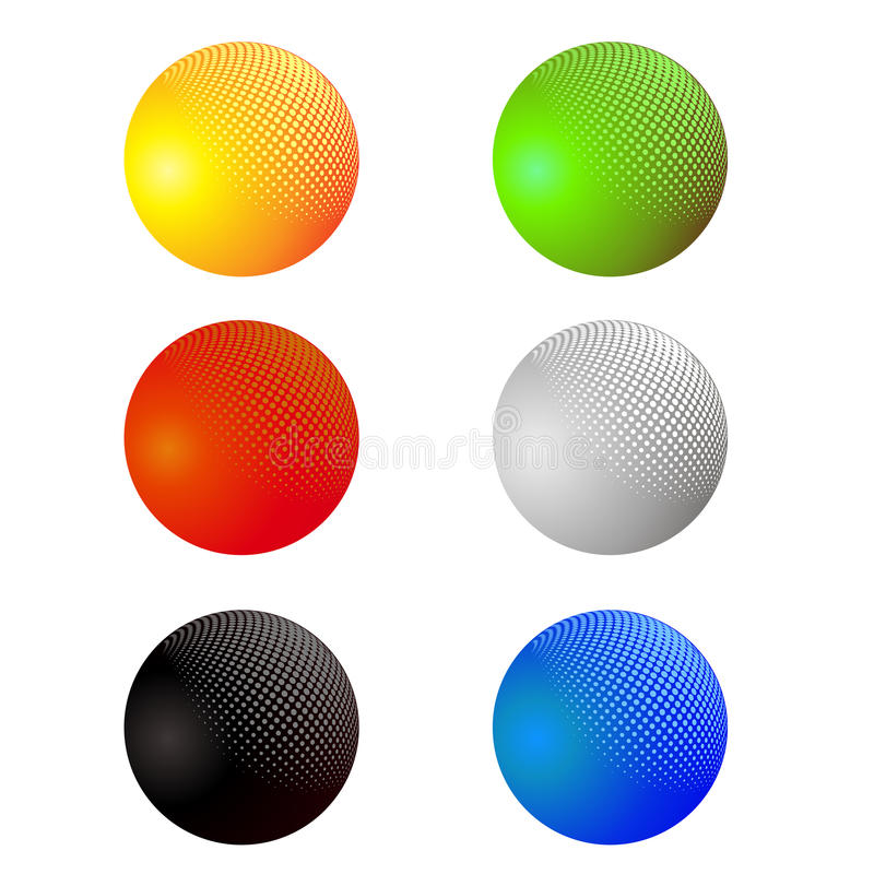 Set of Colorful Spheres Isolated stock illustration