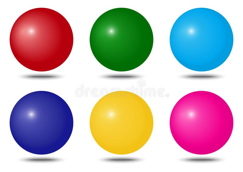 Set of colorful spheres. Vector illustration royalty free illustration
