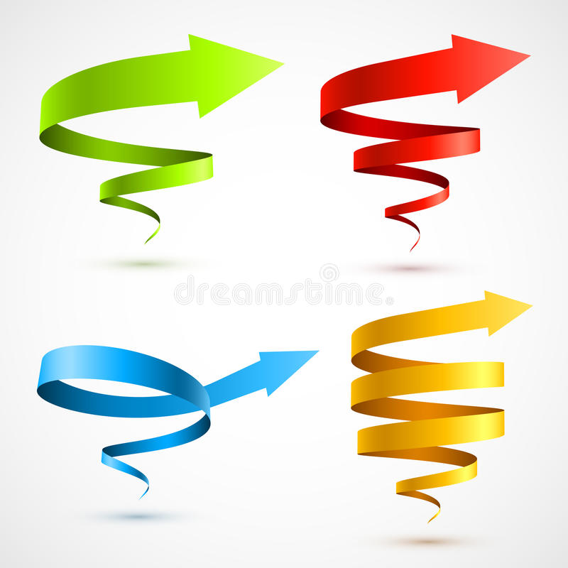 Download Set Of Colorful Spiral Arrows 3D Stock Vector - Image: 28677536