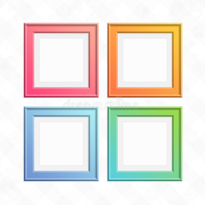 Set of colorful square frames. Square color frame set. Empty wooden photo frames collection on light background. Art gallery of colored, modern picture stock illustration