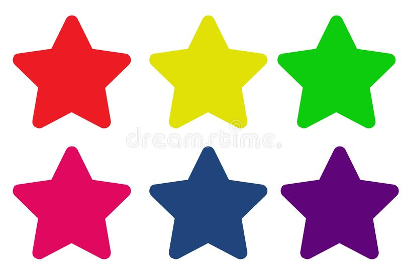 Set of colorful star icon on white background. Pink, yellow, blue, red, purple, element, flat, best, good, creative, simple, collection, big, idea, cartoon stock photos