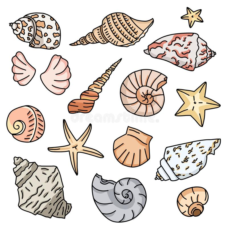 Set of colorful starfish icons, silhouette icon of seashells on white background. Sketches of doodle shells in color stock illustration