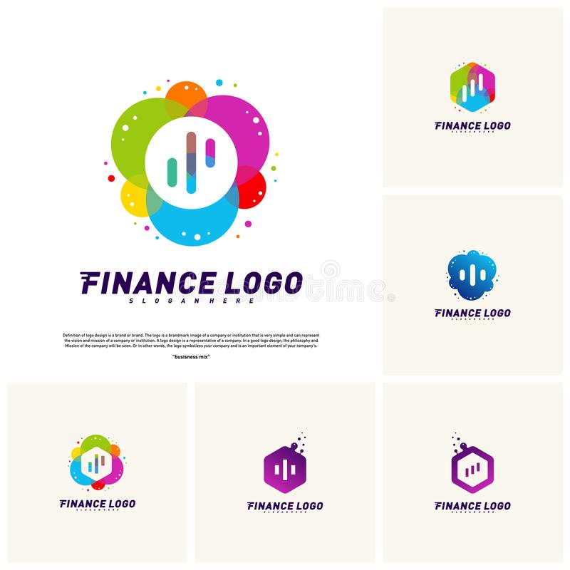 Set of Colorful Stats Financial Advisors with hexagon Logo Design Concept. Finance logo Template Vector Icon vector illustration