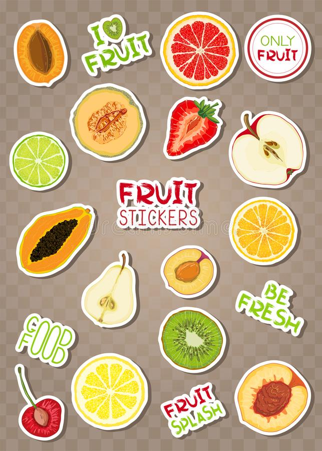 Set of colorful stiсkers with fruits and phrases stock illustration