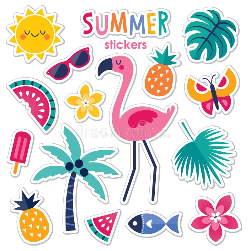 Set of colorful summer stickers with pink flamingo royalty free illustration