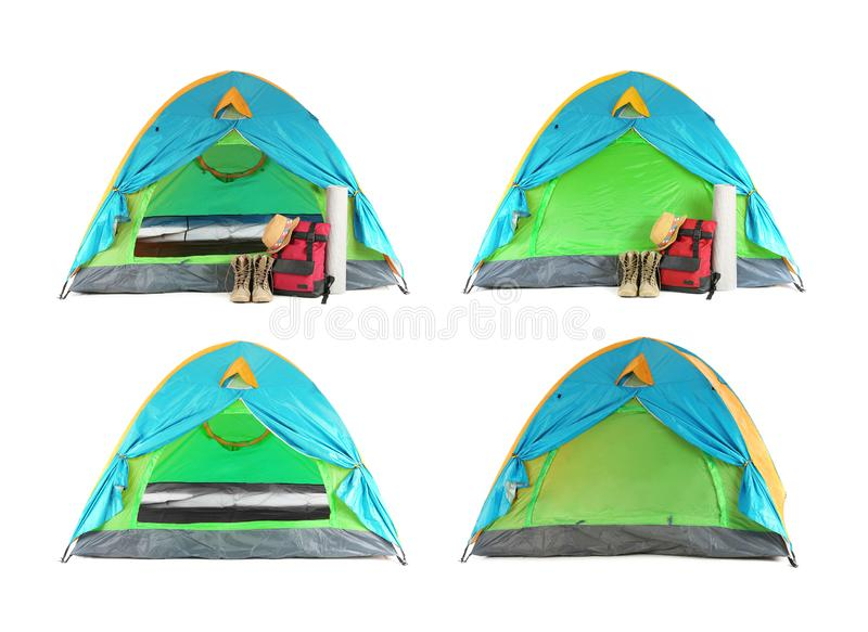 Set of colorful tent and camping equipment on white background. stock image