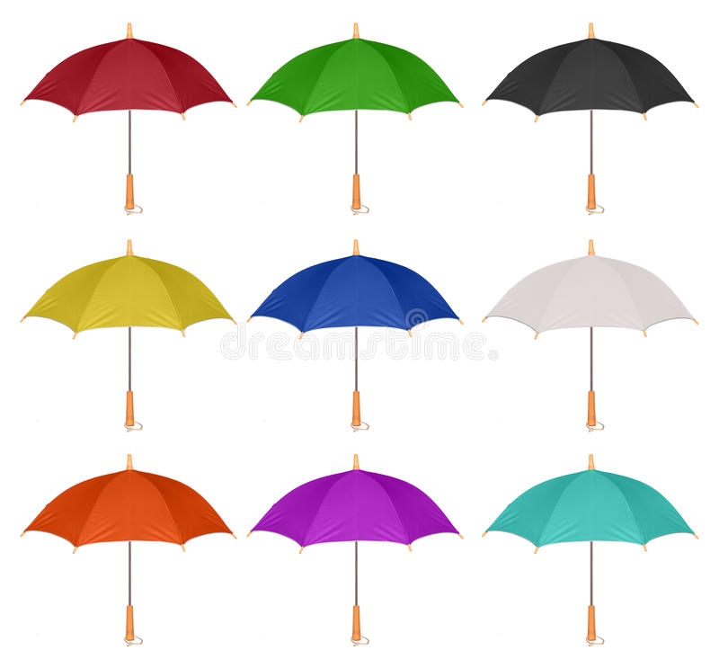Set of colorful umbrella icon isolated. On white background stock images