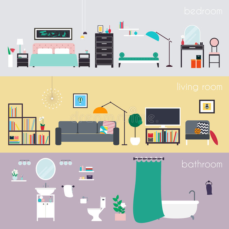Set of colorful vector interior design house rooms with furniture icons: living room, bedroom and bathroom. Furniture and Home Ac vector illustration