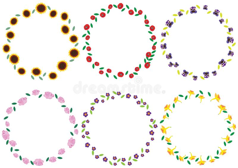 Set of colorful vintage spring and summer flowers wreaths isolated on white background. royalty free illustration