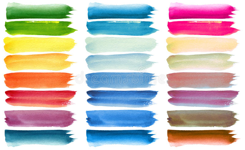 Set of colorful watercolor brush strokes royalty free illustration