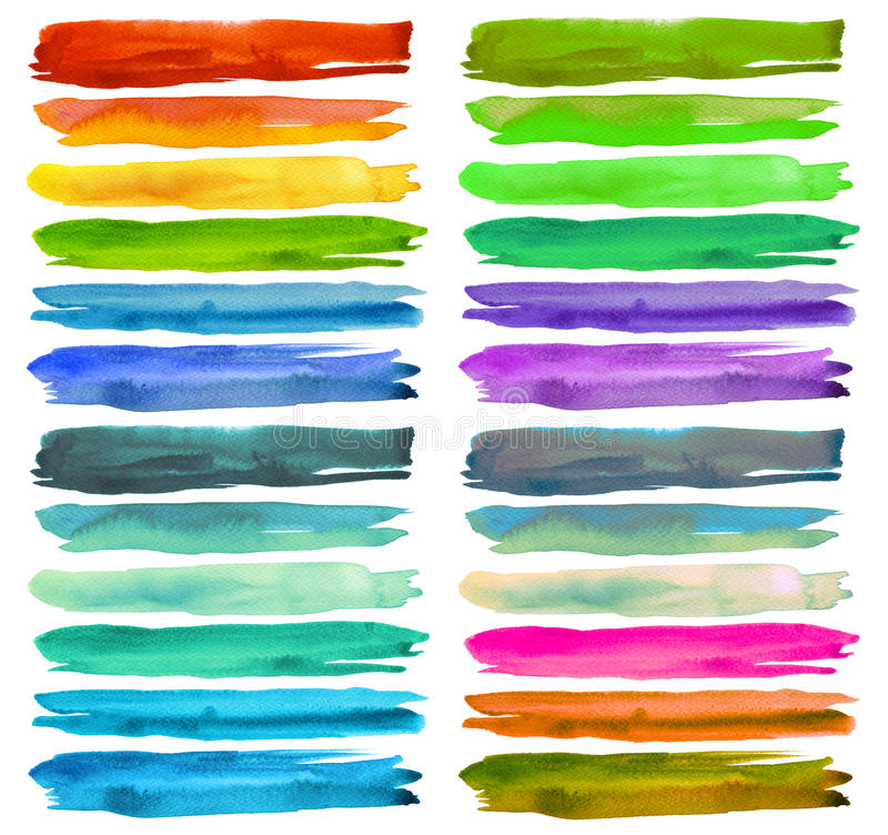 Set of colorful watercolor brush strokes. royalty free stock photo