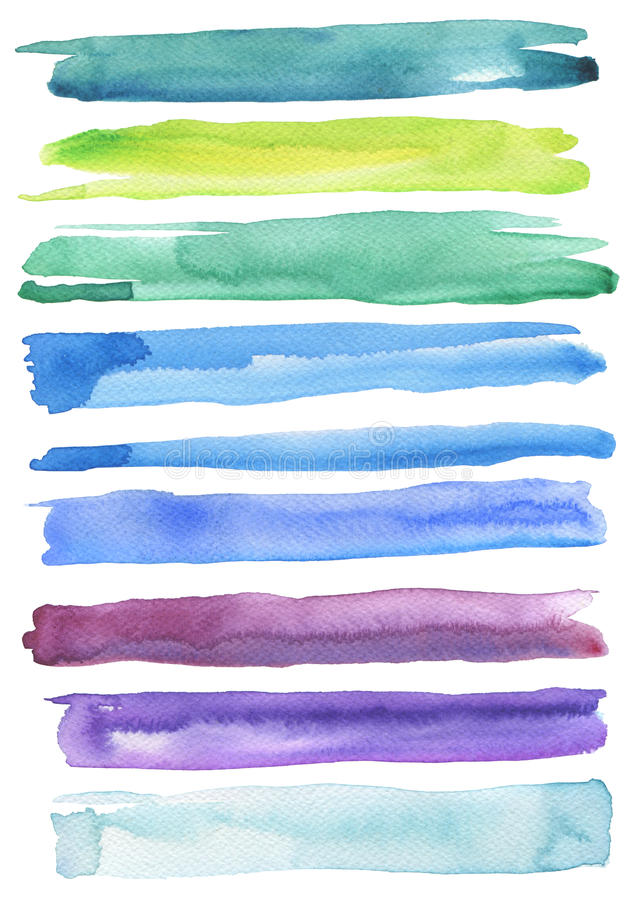 Set of colorful watercolor brush strokes. stock image