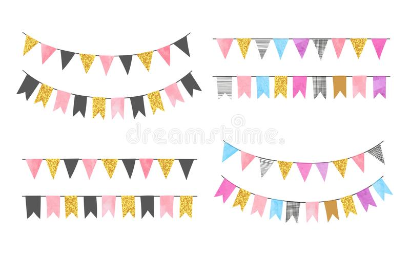 Set of colorful watercolor bunting party flags. Vector illustration, suitable for birthday party, wedding celebration royalty free illustration