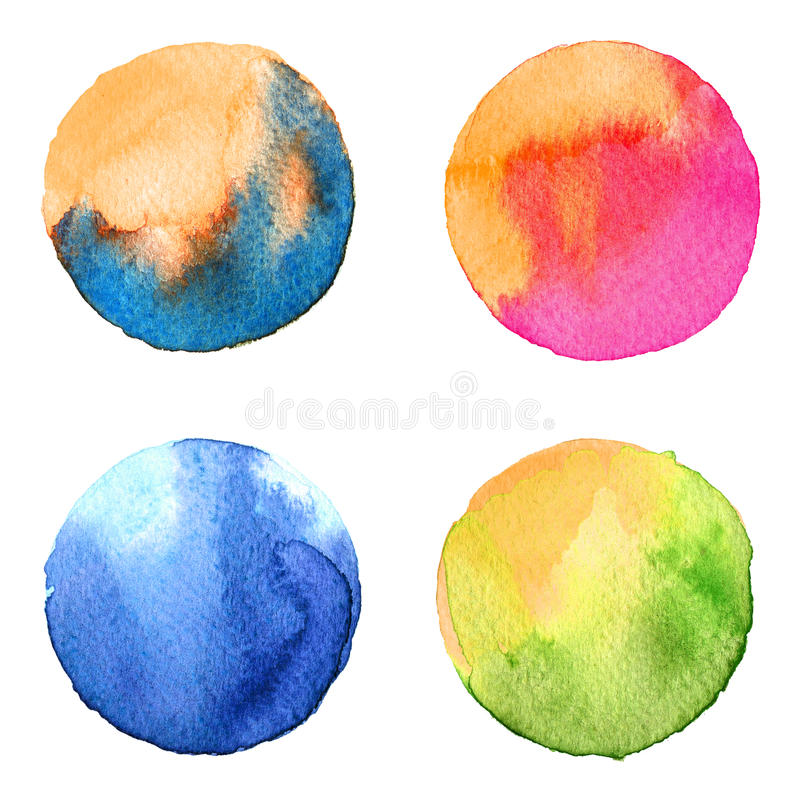 Set of colorful watercolor hand painted circle isolated on white. Illustration for artistic design. Round stains, blobs blue. Set of colorful watercolor hand royalty free illustration