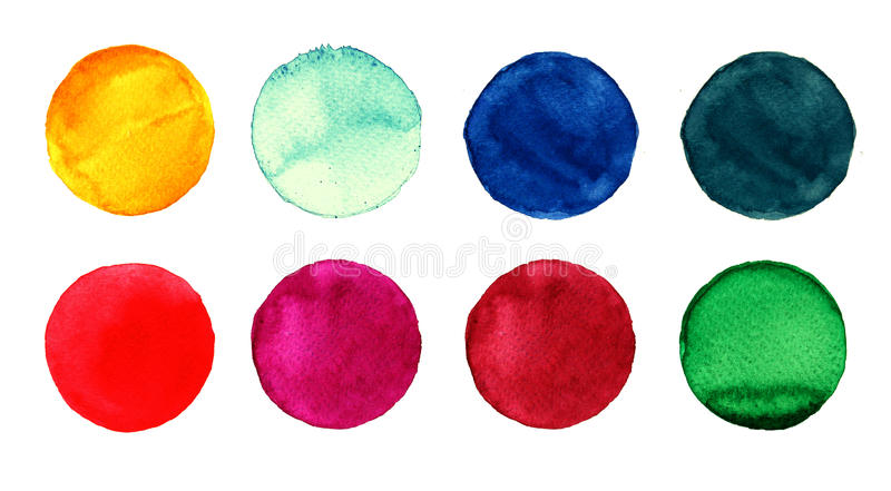 Set of colorful watercolor hand painted circle on white. Illustration for artistic design. Round stains, blobs blue, red. Set of colorful watercolor hand painted royalty free illustration