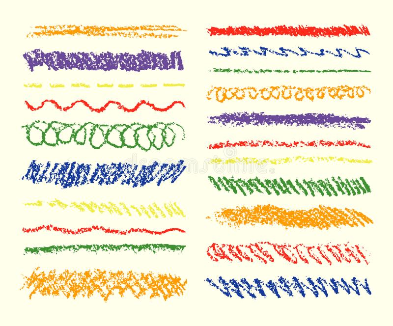 Set of colorful wax crayon strokes. Hand drawn pastel chalk texture stripes. vector illustration