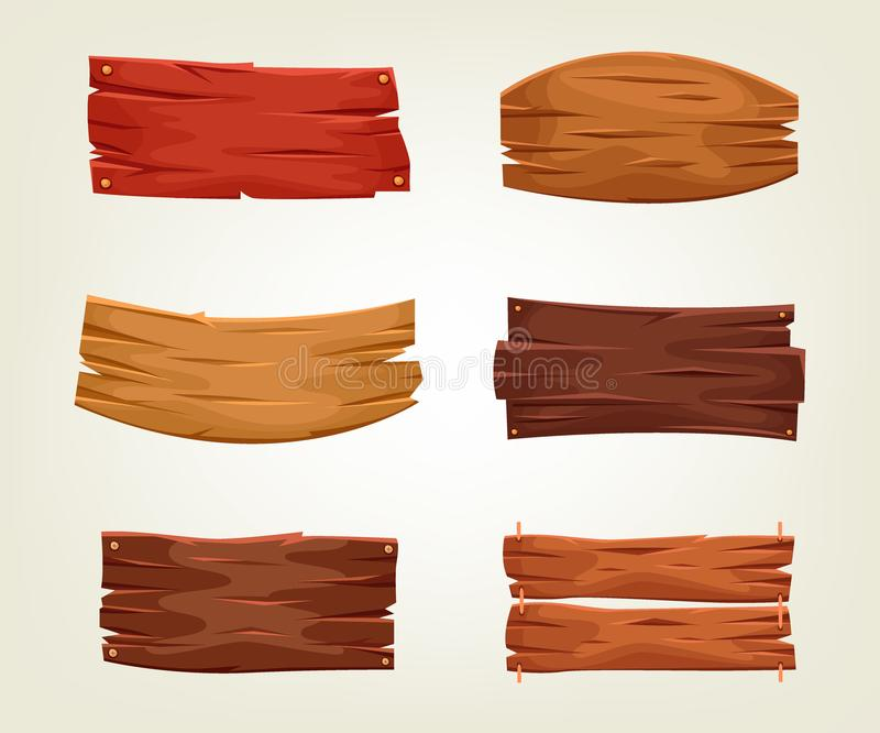 Set of colorful wooden boards. Vector illustration of old timber templates. Decorative planks are perfect as mockup for a text of banner, poster and booklet stock illustration