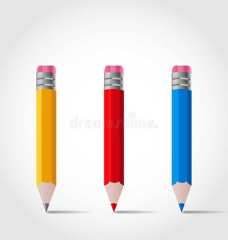 Set colorful wooden pencils with shadows vector illustration