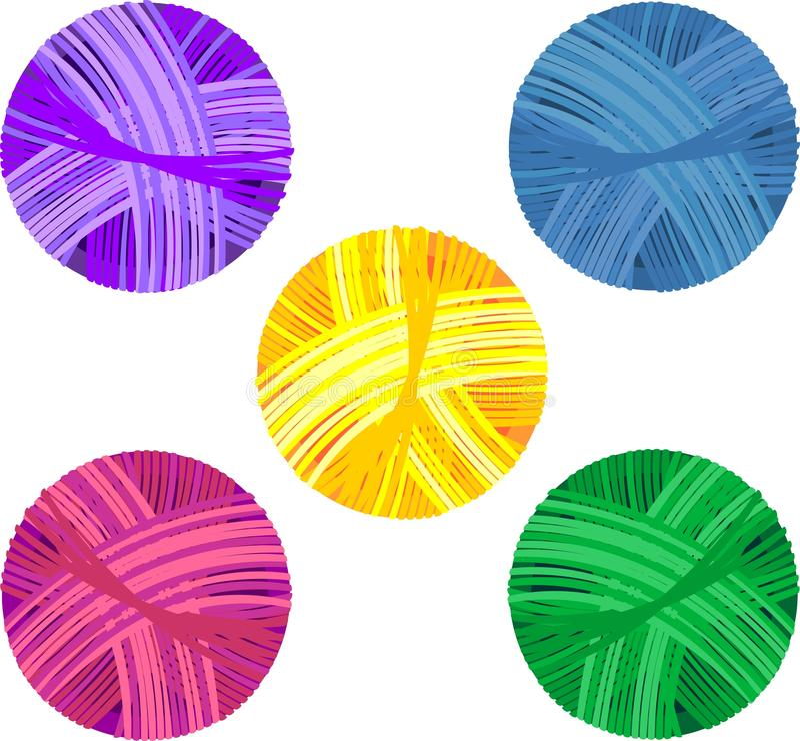 Set of colorful yarn balls royalty free illustration