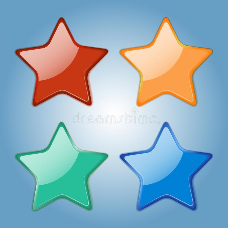 Set of colorfull glossy stars. Realistic badges. Elements fo your design. Vector Illustration. Set of colorfull glossy stars. Realistic badges. Elements fo your stock illustration