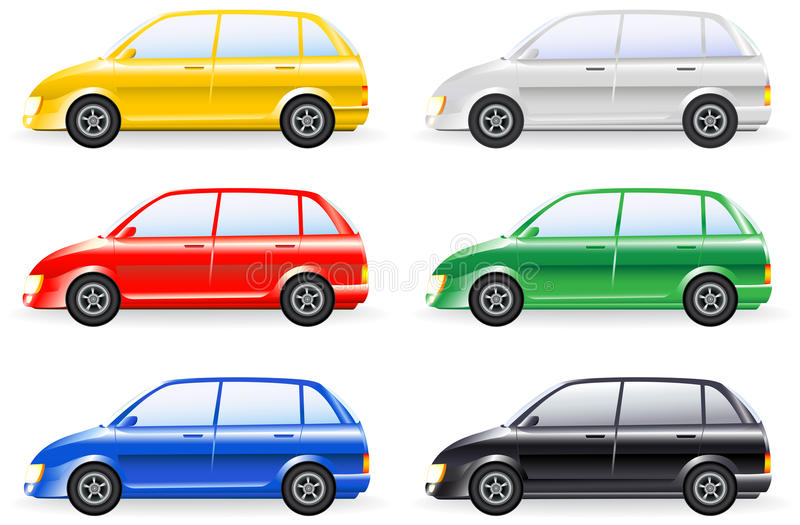 Set of colorfull isolated modern cars royalty free illustration
