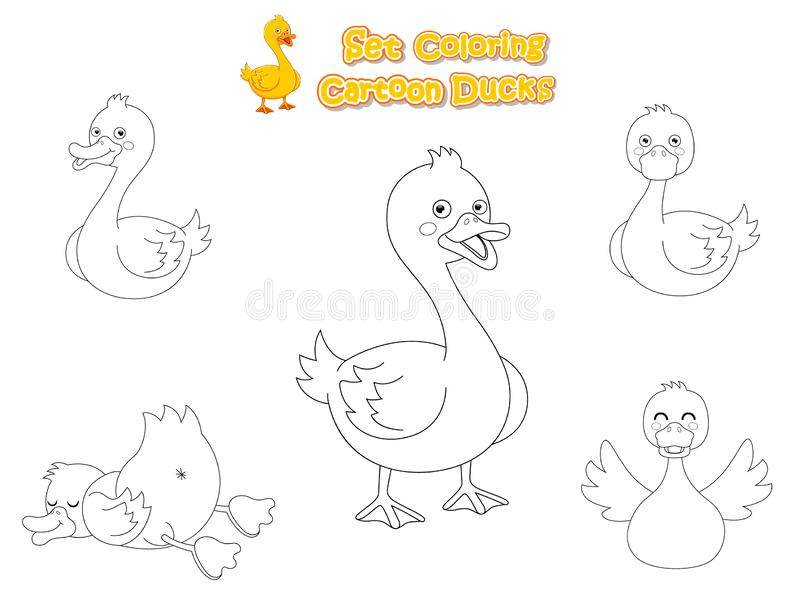 Set Coloring the Cute Cartoon Ducks. Educational Game for Kids. Vector illustration With Cartoon Funny Animal Frame. Industries Education stock illustration