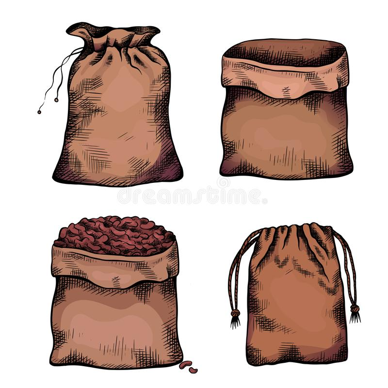 Set of coloring illustrations of hand drawn canvas bags. Objects separate from the background. Zero waste objects. Vector line art for menus, recipes, articles stock illustration