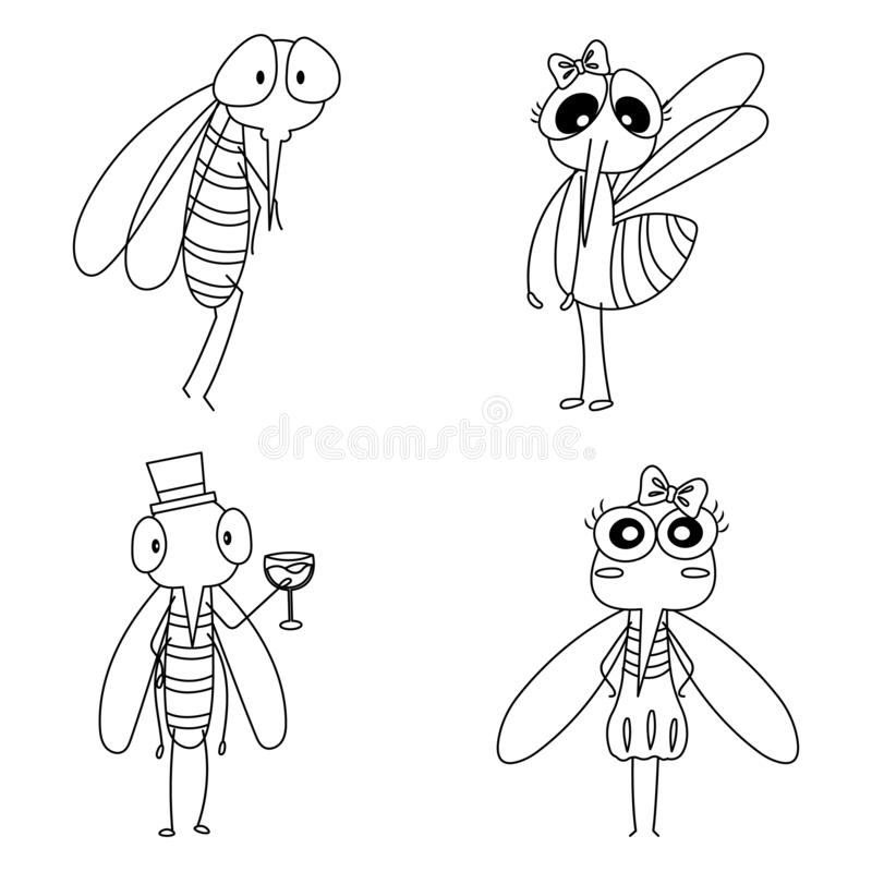 Cute Colorless Mosquitoes. Set of colorless mosquitoes cartoon. Colorless mosquitoes for kid and coloring book vector illustration