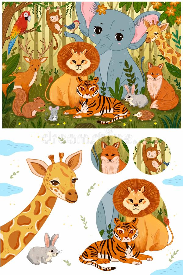 Set of cute forest animals in retro vintage colors. royalty free illustration