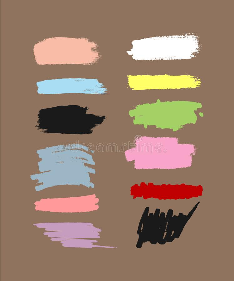 Set of colour brush strokes. Textures of watercolour smears. vector illustration