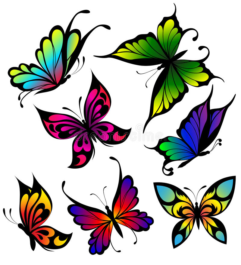 Download Set Of Colour Butterflies Of Tattoos Stock Image - Image: 18099791