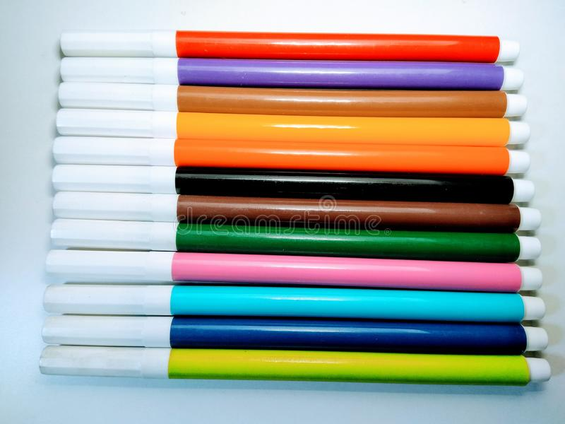 A set of colour marker  on white background , stock images