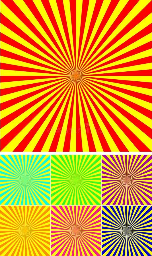 Set colour różni promienie royalty ilustracja