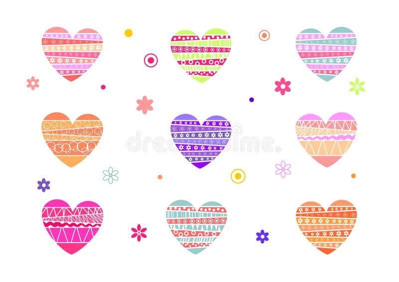 A set of coloured hearts for Valentines Day, Valentine card. A Valentines Day illustration, background, a frame for banners. royalty free illustration