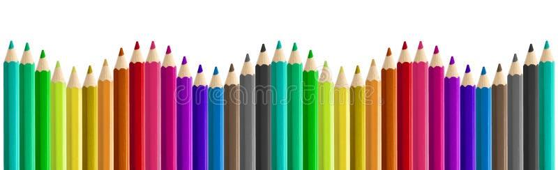 Set coloured ołówki popiera kogoś boczną bezszwową tęczy fala odizolowywającą - obok - fotografia stock