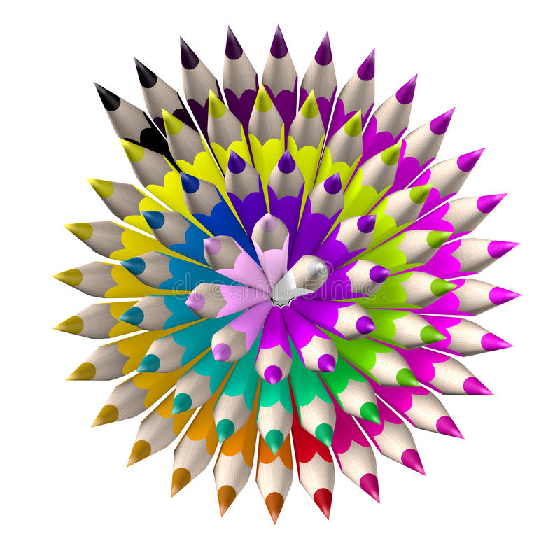 Set of coloured pencil. Pencils are aligned following a spiral. And sorted using rainbow colours royalty free illustration