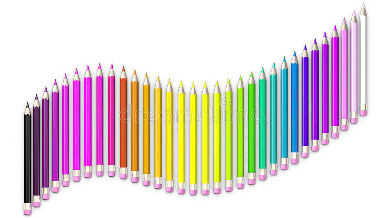 Set of coloured pencil. Pencils are aligned following a wave and sorted. Using rainbow colours vector illustration