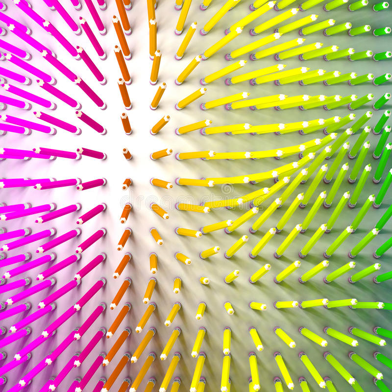 Set of coloured pencil. Pencils are standing and aligned following a force field. And using rainbow colours. Aerial view vector illustration