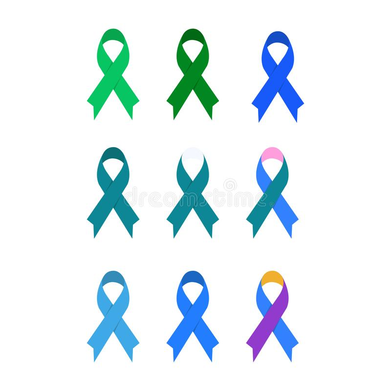 Cancer ribbon in various color icon template. Set of coloured ribbons representing the support of tackling different cancers stock illustration
