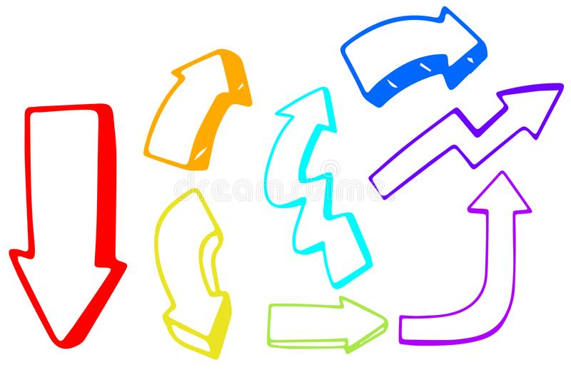A Set of Colourful Arrow Direction royalty free illustration