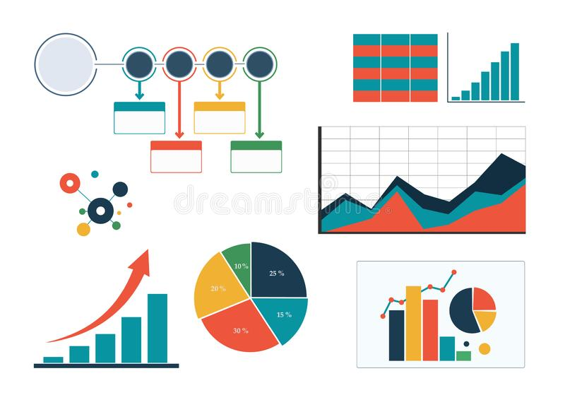 Set of colourful business charts, diagram and infographic template flowchart stock illustration