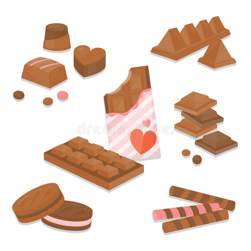 Set of colourful chocolate desserts and candies.vector illustration. Set of colourful chocolate desserts and candies royalty free illustration