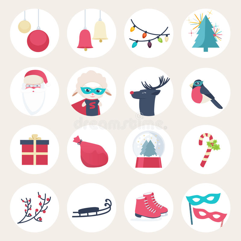 Download Set Of Colourful New Year Icons Stock Vector - Image: 42147365