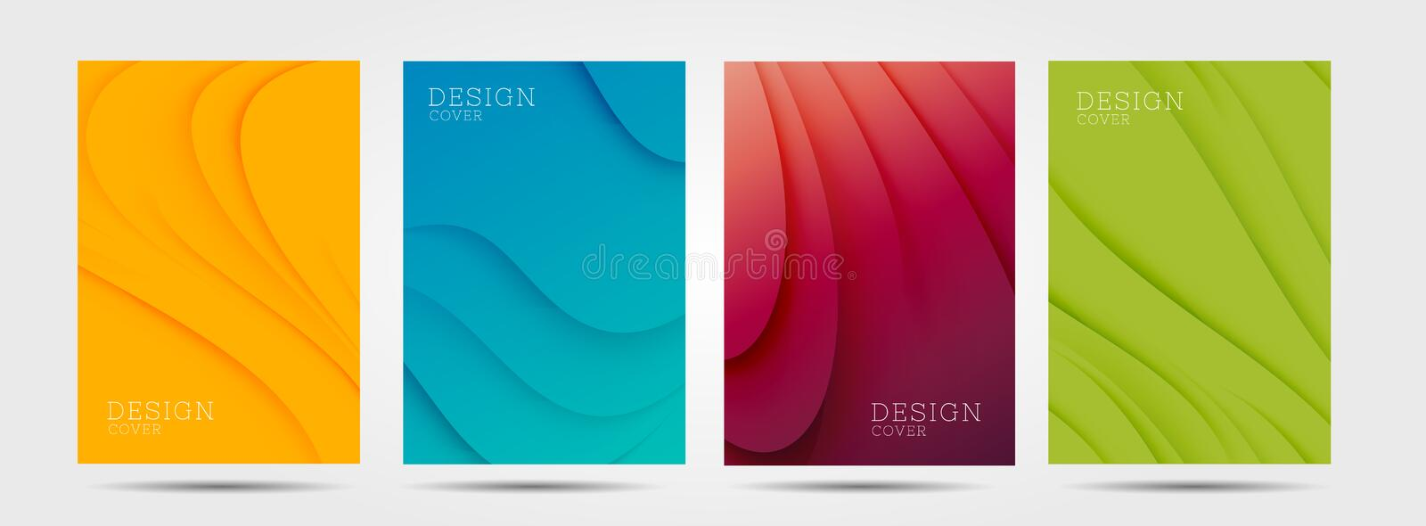 Set of colourful posters with abstract waves graphic in four colours: yellow, red, blue, green royalty free illustration