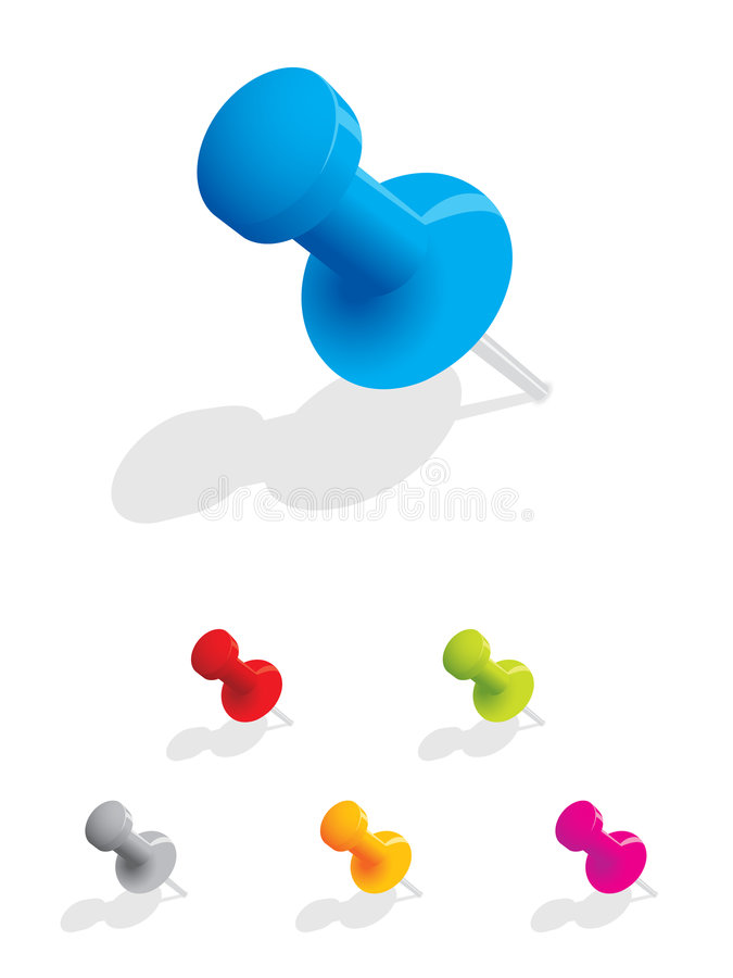 Download Set of colourful push pins stock vector. Image of pinboard - 7061766