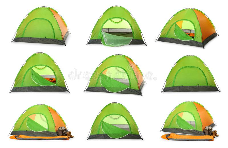 Set of comfortable colorful camping tents on white. Background royalty free stock image