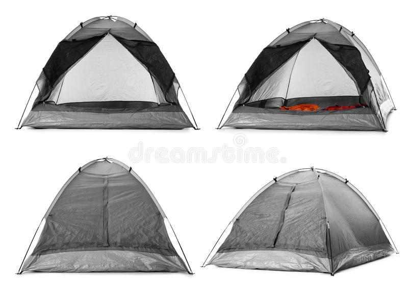 Set of comfortable grey camping tents on white. Background royalty free stock photography