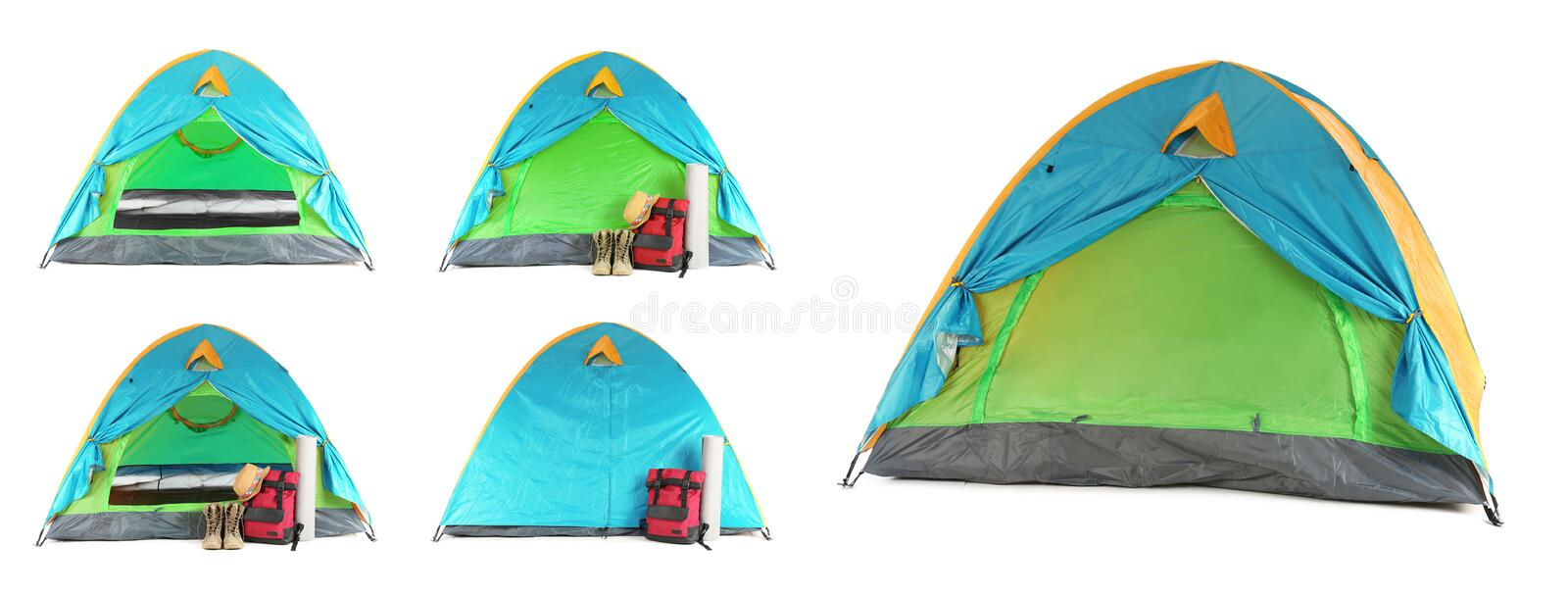 Set of comfortable tents and different camping equipment on white background. Banner design stock photos