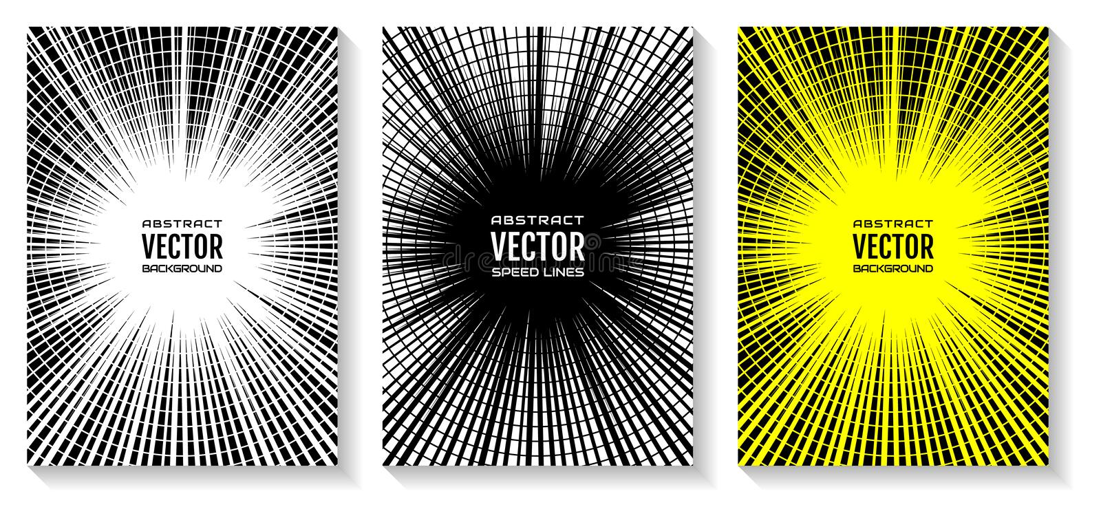 Set comic book speed lines radial background. Geometric illustration of rays intersected by circular rings, as equalizer royalty free illustration