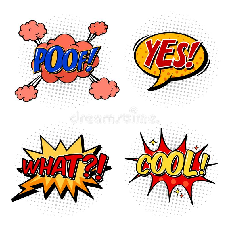 Set Of Comic Bubble Speech Onomatopoeia Stock Vector Illustration
